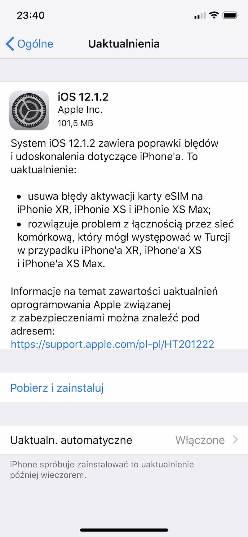 iOS 12.1.2 iphone apple aktualizacja