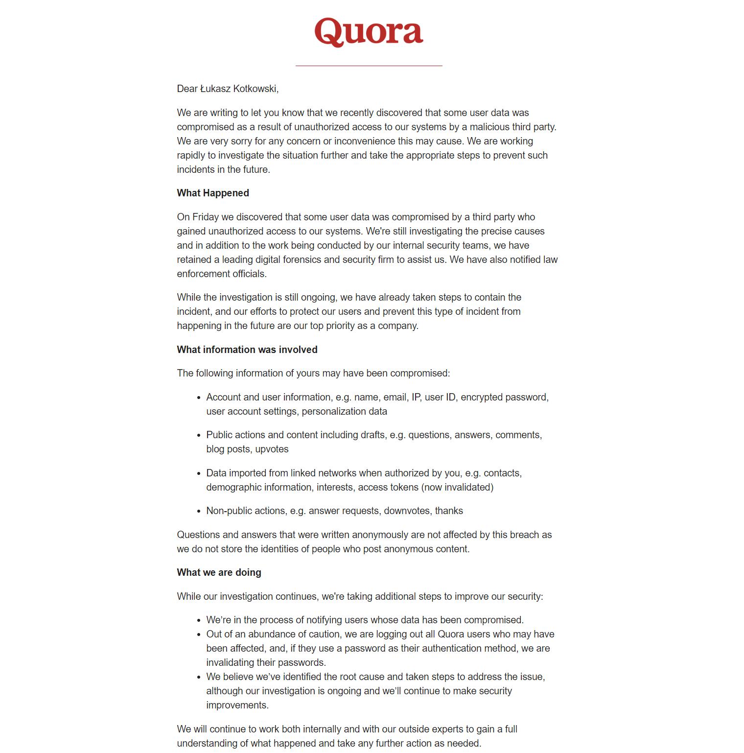 Wyciek danych z Quora