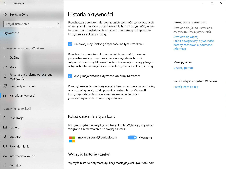 windows 10 historia aktywności