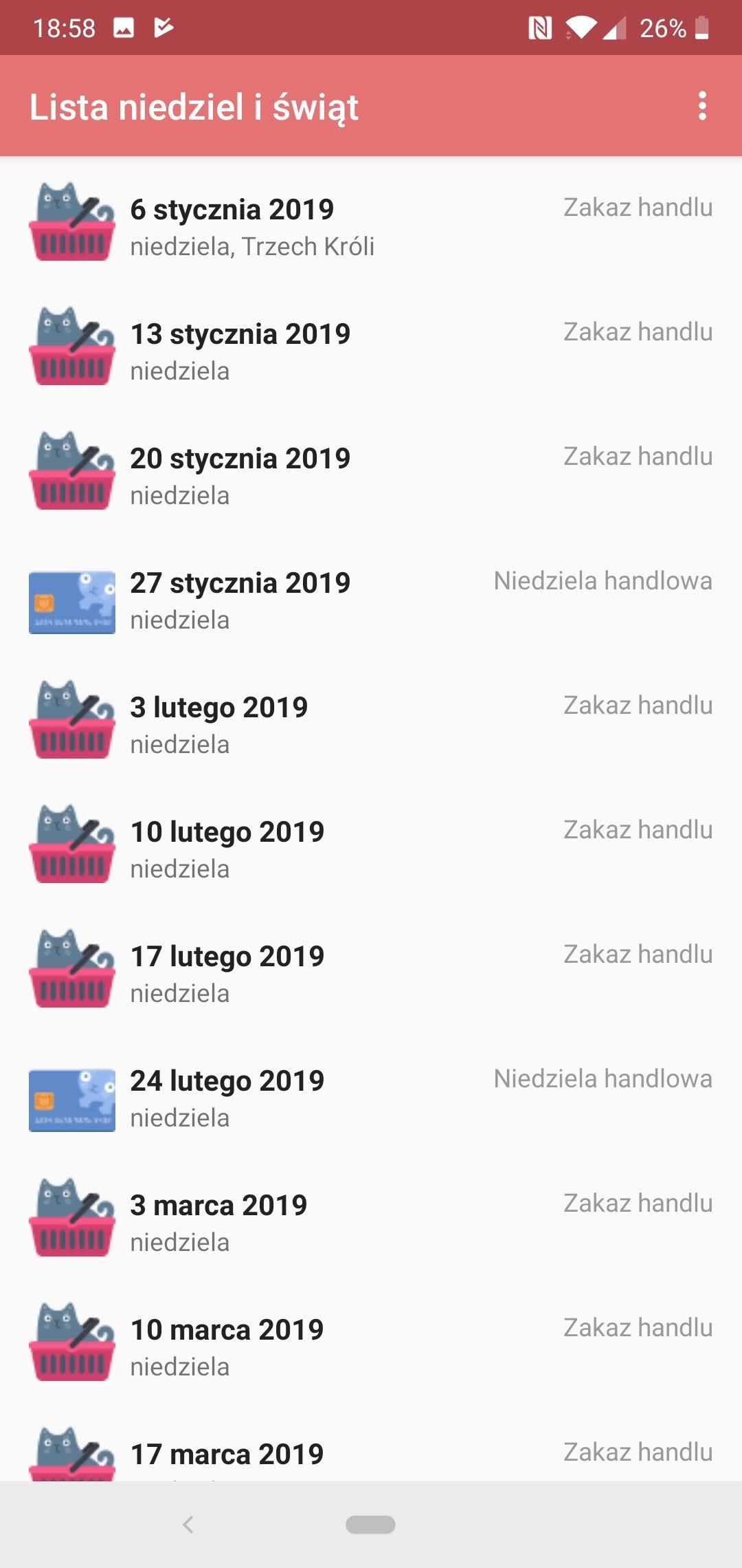 Lista niedziel handlowych w 2019 r.