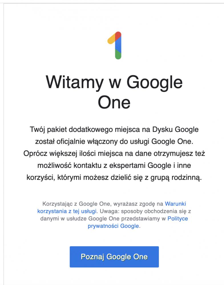 Google One w Polsce - cena, opinie.