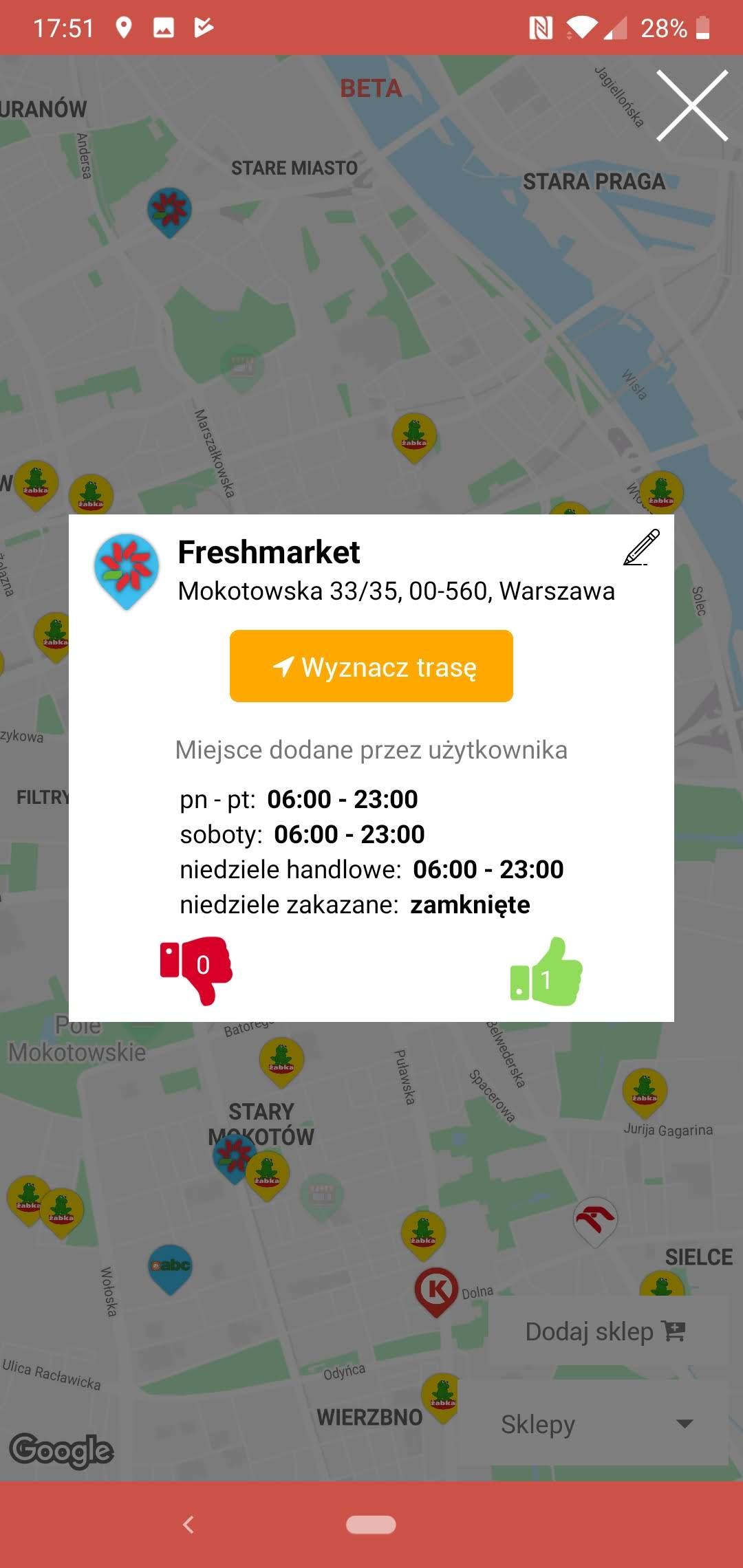 Informacja o sklepach pracujących w niedziele