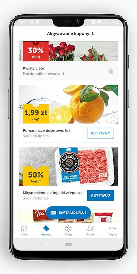 Discount coupons in the shopping application in Lidl