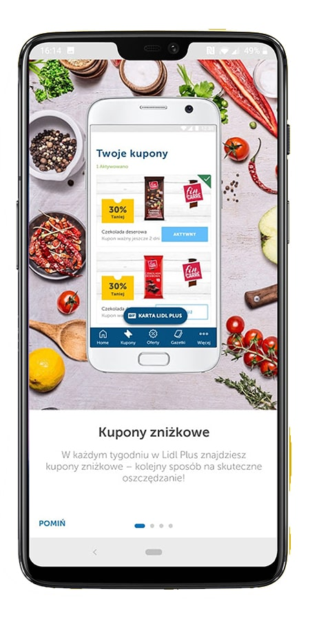 Discount coupons in the Lidl Plus app