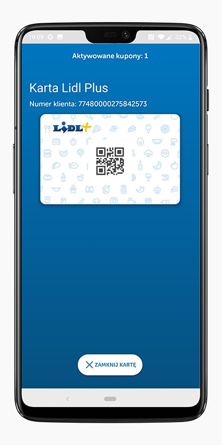 The card in the Lidl Plus application