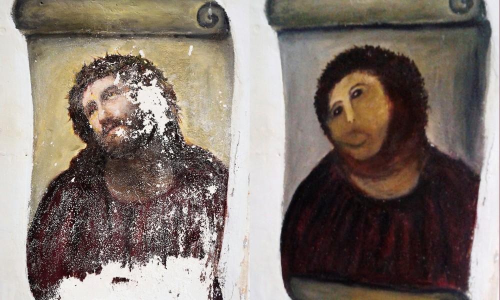 """Obraz przed i po """"renowacji""""."""