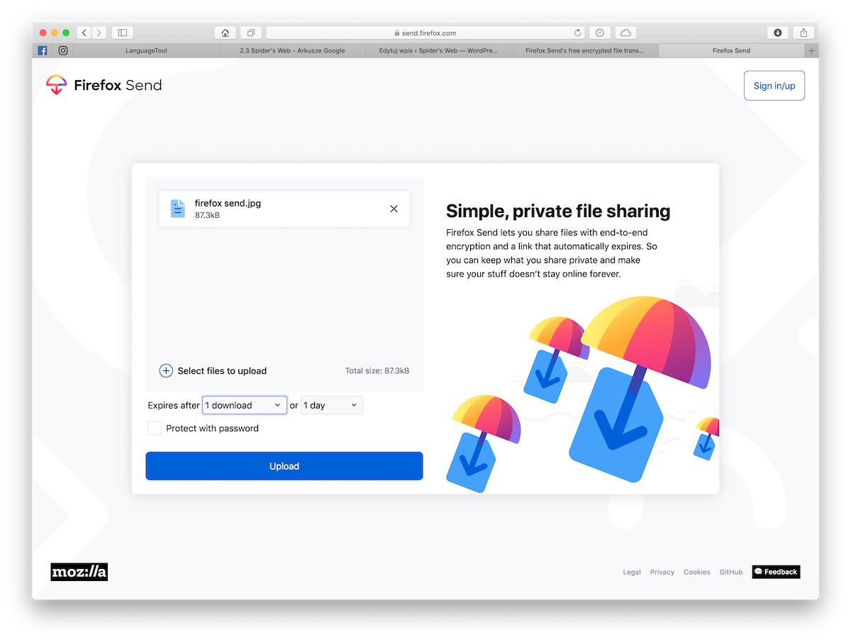 Firefox Send - sposób, jak wysłać duży plik