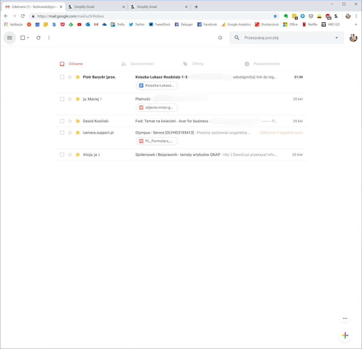 Tak wygląda Gmail z Simplify. Jest pięknie