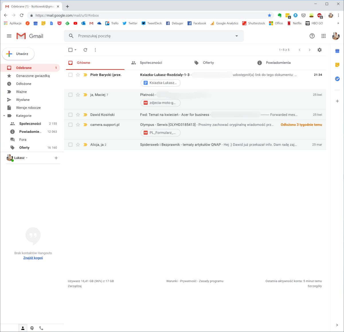Gmail przed instalacją Simplify