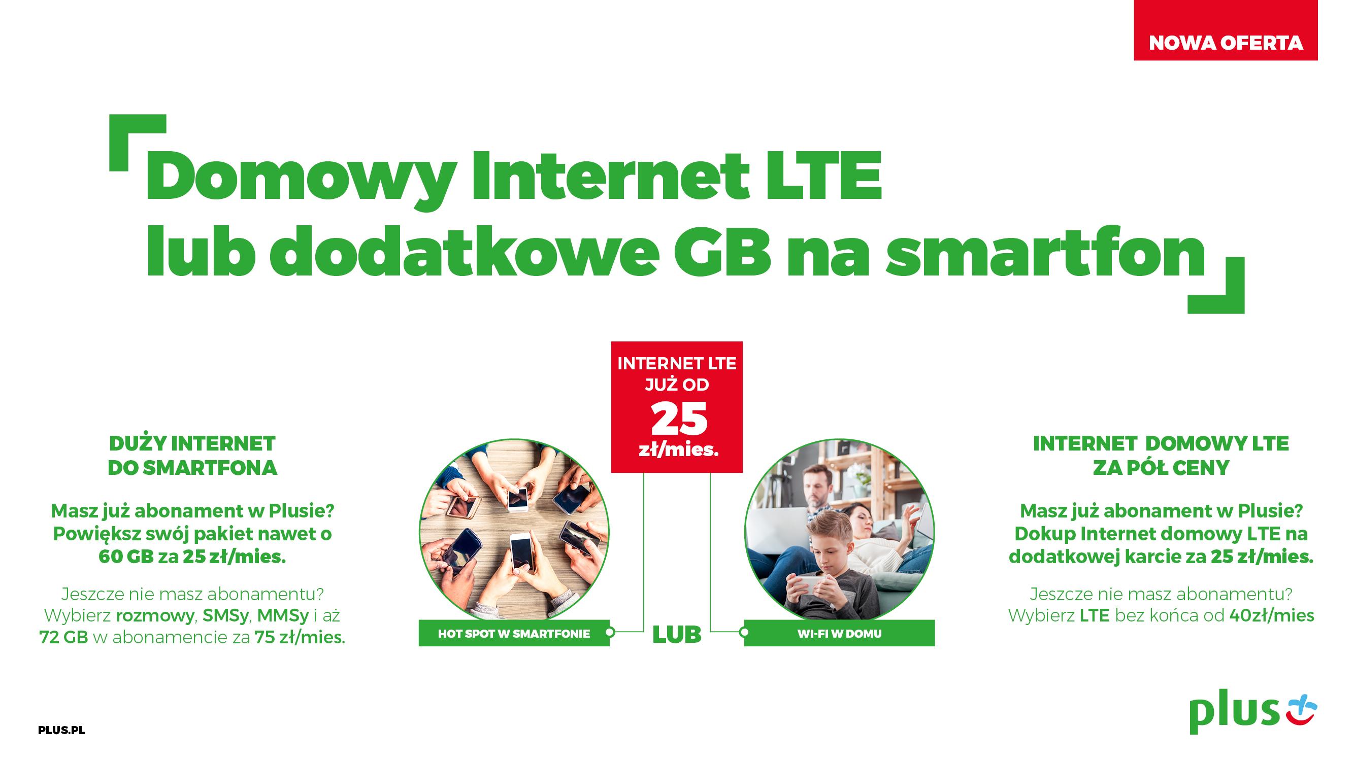 plus domowy internet lte lub dodatkowe gb na smartfon