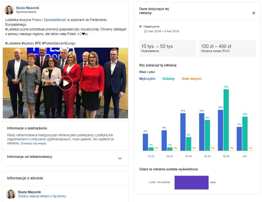 Można sprawdzić zasięgi reklamy politycznej na Facebooku