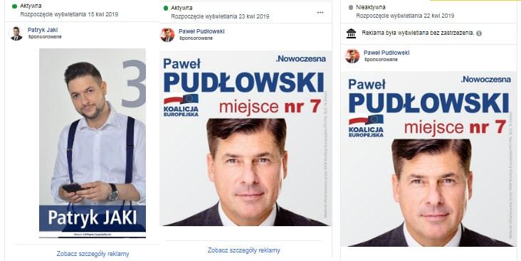 Facebook blokuje reklamy polityków. dość losowo