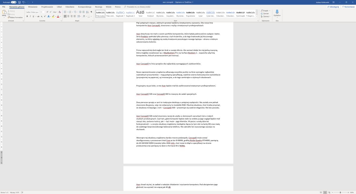 Microsoft Word - widok domyślny