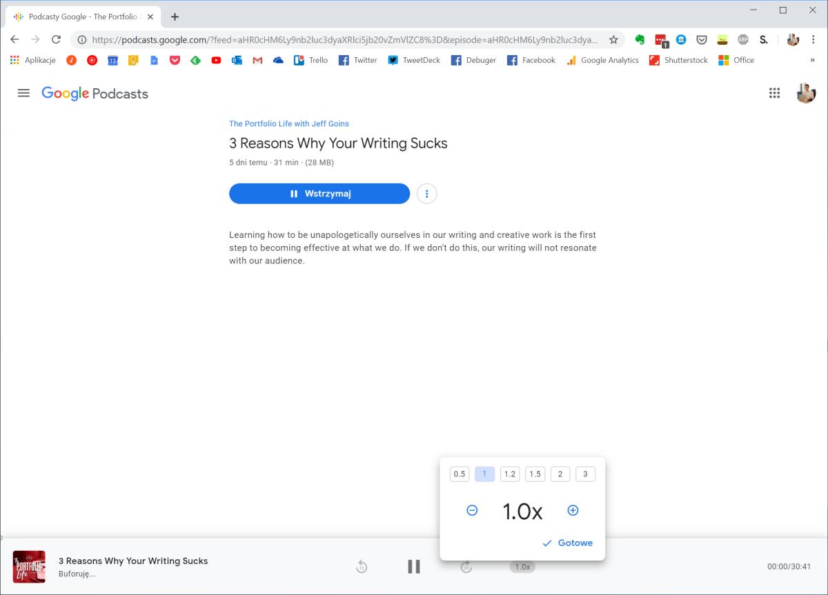 Podcasty Google w przeglądarce