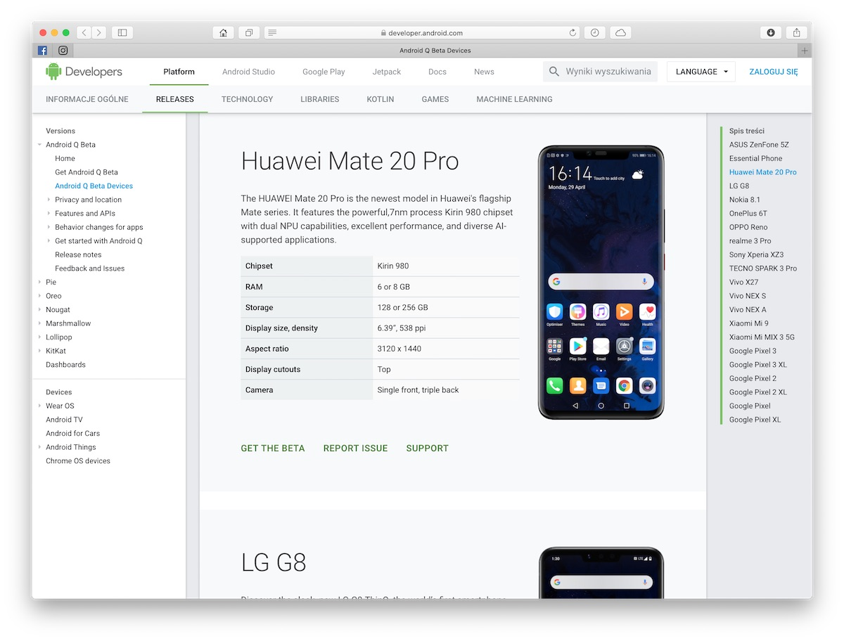 huawei mate 20 pro android q beta