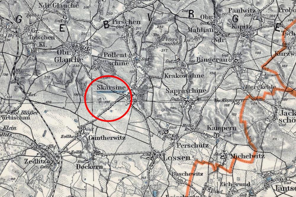 """""""Zagajnik miłości"""" na mapie z 1933 r."""