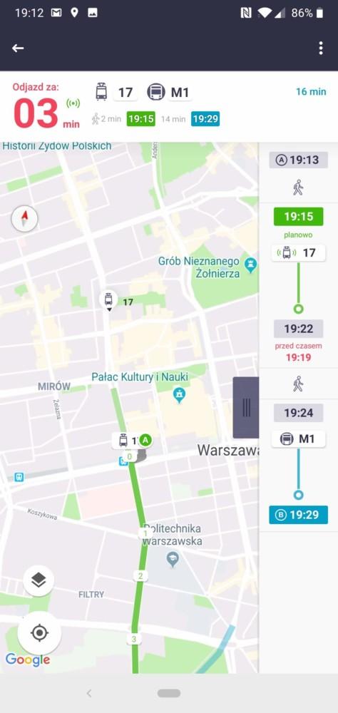 aplikacja jakDojade pokazuje, gdzie jest tramwaj-