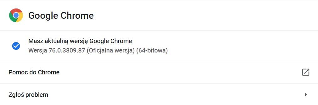Chrome 76 aktualizacja