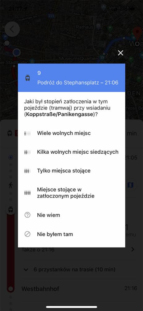 mapy google stopień zatłoczenia pojazdu