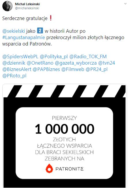 Tomasz Sekielski ponad milion na patronite