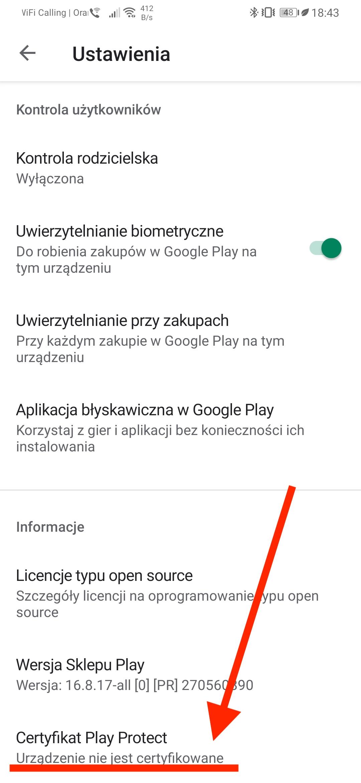 huawei p30 pro certyfikacja google play protect
