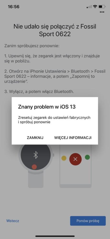 Wear OS nie działa z iOS 13 na iPhonie 11
