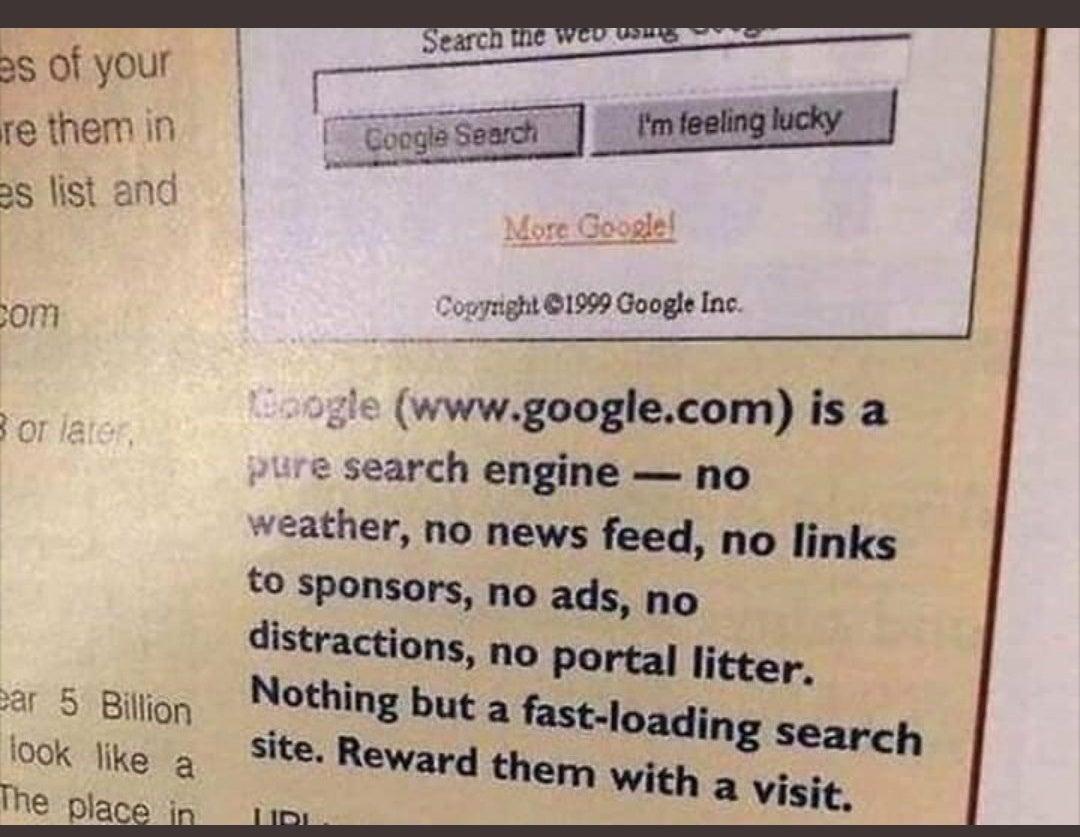 Wyszukiwarka Google 1999