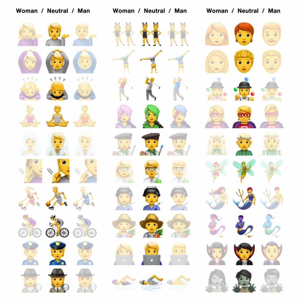 Emoji iOS13.2 neutralne płciowo emoji