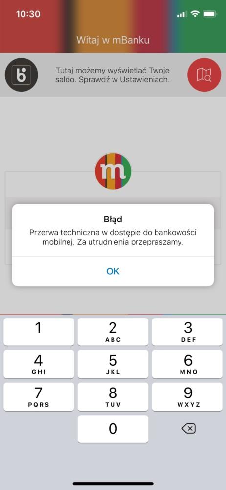 awaria mbank nie działa zmiana czasu aplikacja