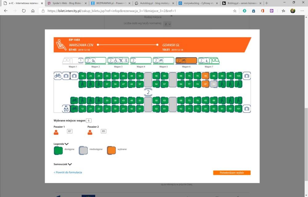 Express InterCity Premium wybór miejsc