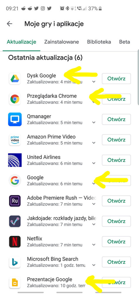 ios windows android aktualizacje