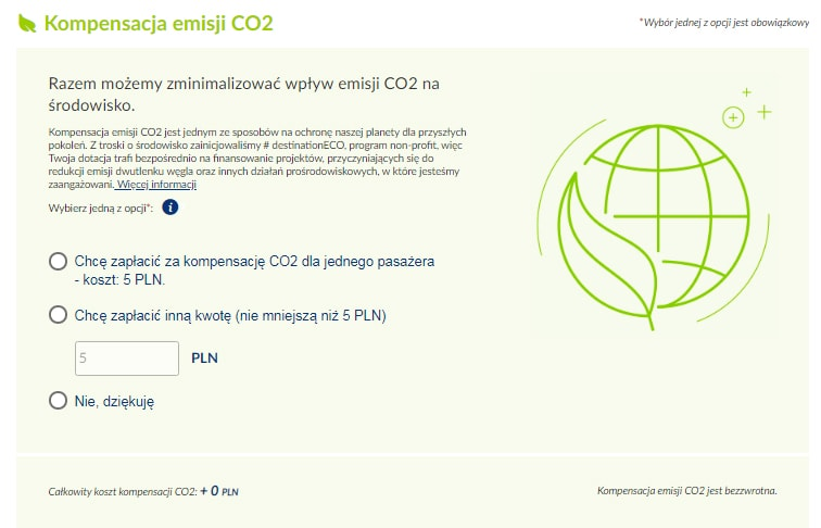 LOT ekologiczna dopłata do biletu