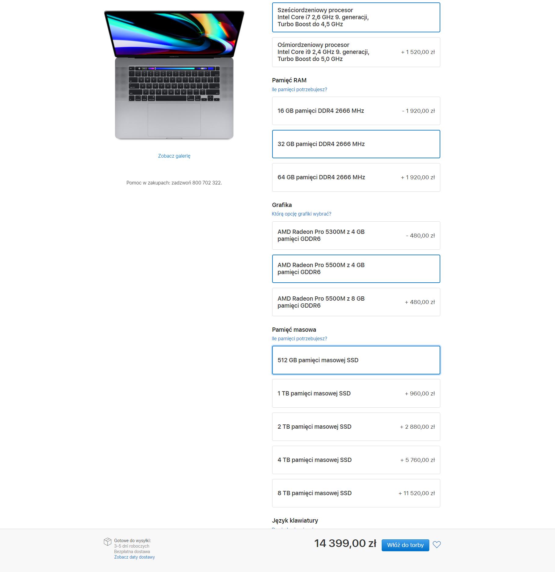MacBook Pro 16 - ceny w Polsce