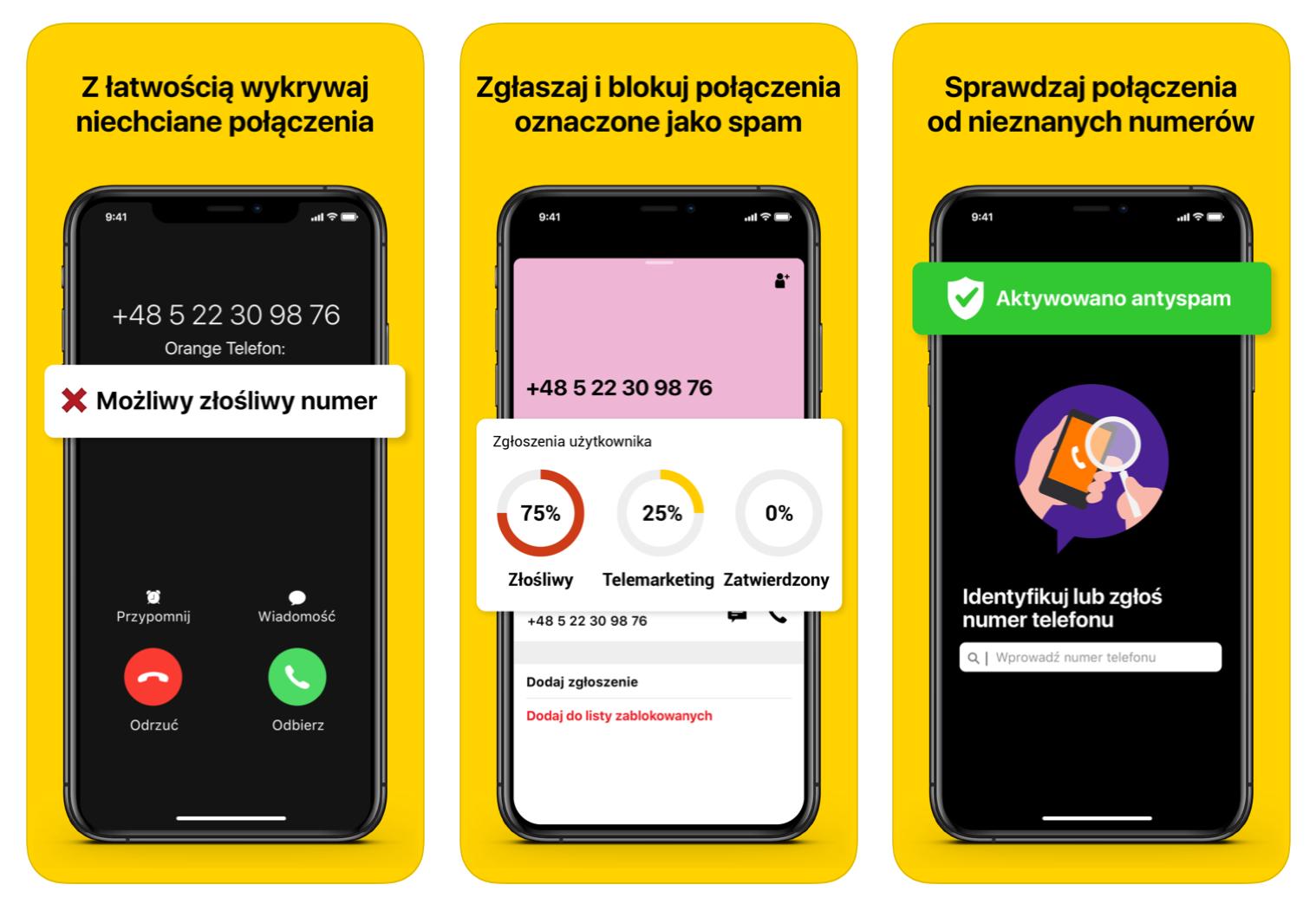 orange telefon aplikacja antyspam