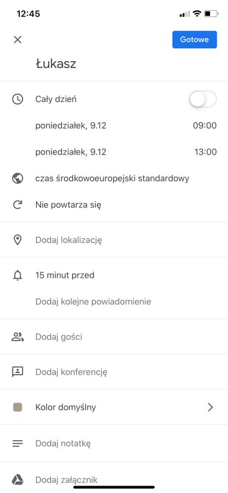 Kalendarz Google zmiany