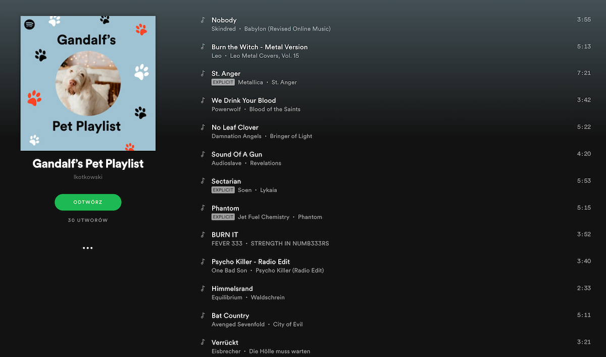 Spotify playlista dla zwierząt
