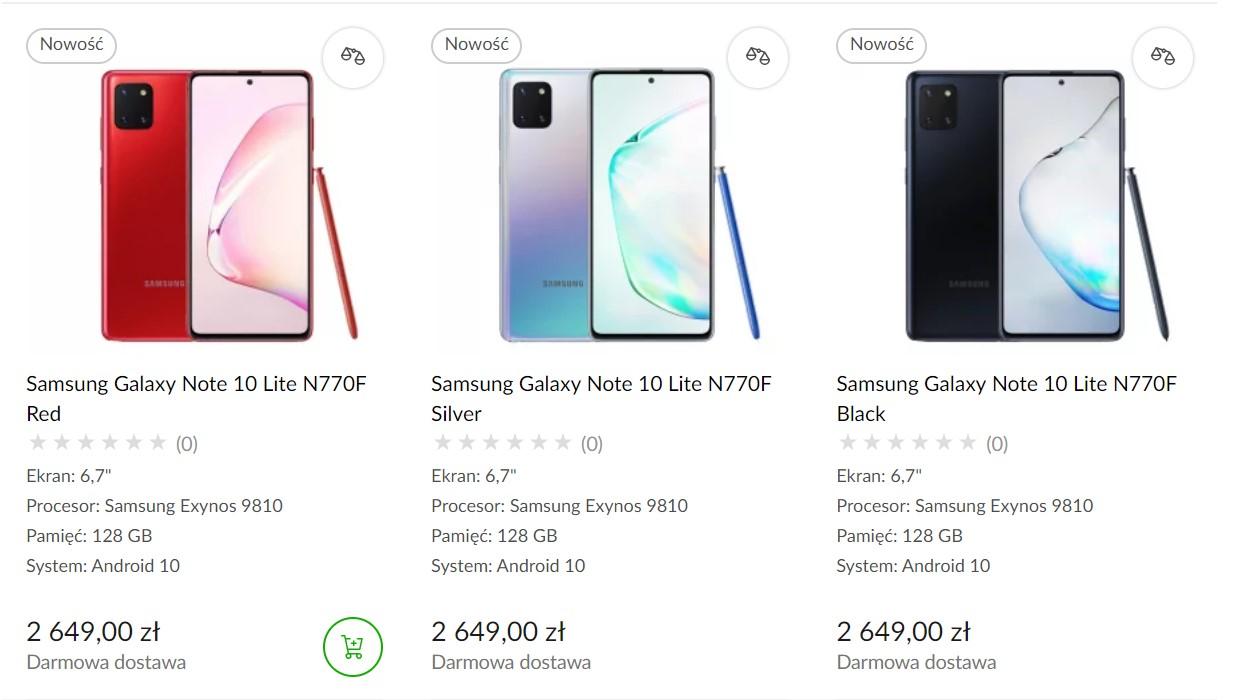 Samsung Galaxy Note 10 Lite - cena w Polsce