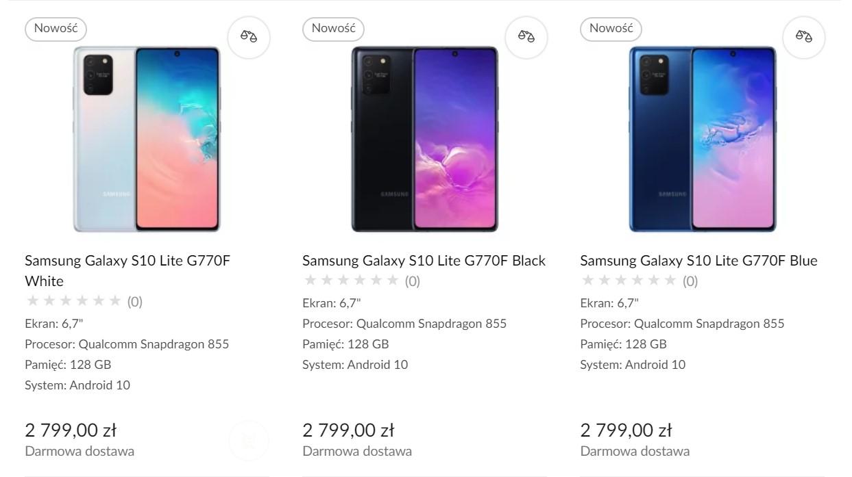 Samsung Galaxy S10 Lite - cena w Polsce