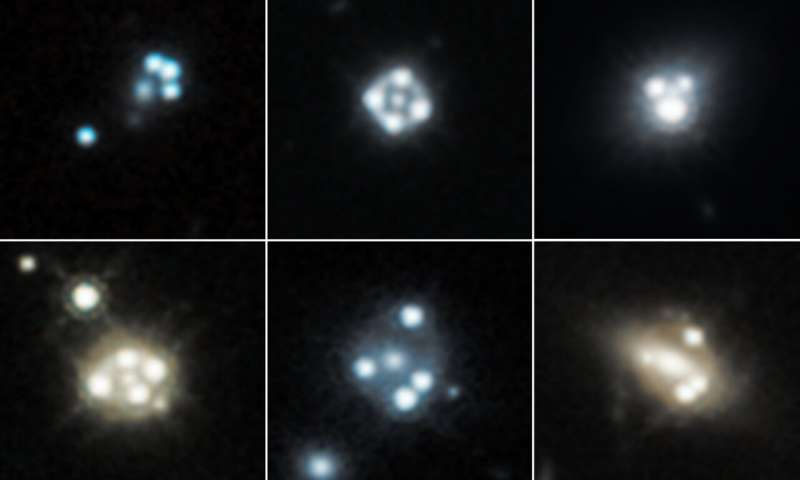 Galaktyki soczewkujące otoczone czterema obrazami odległego kwazara