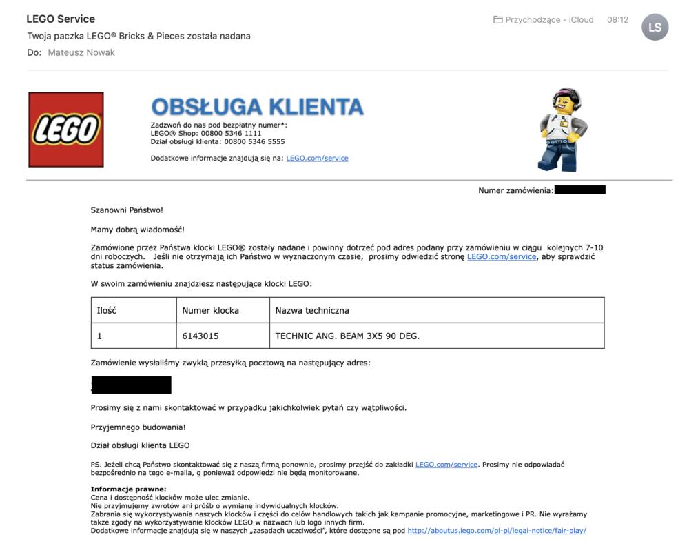 Brakujący klocek Lego: producent wyśle go pocztą.