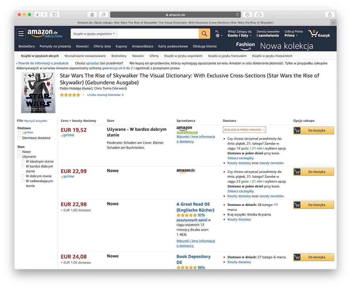 amazon po polsku towary używane jak sprawdzić