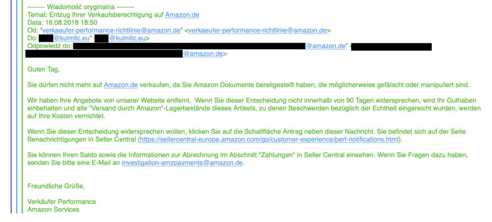 Mail od Amazonu, który Durina przesyłał dostawcom jako wyjaśnienie.