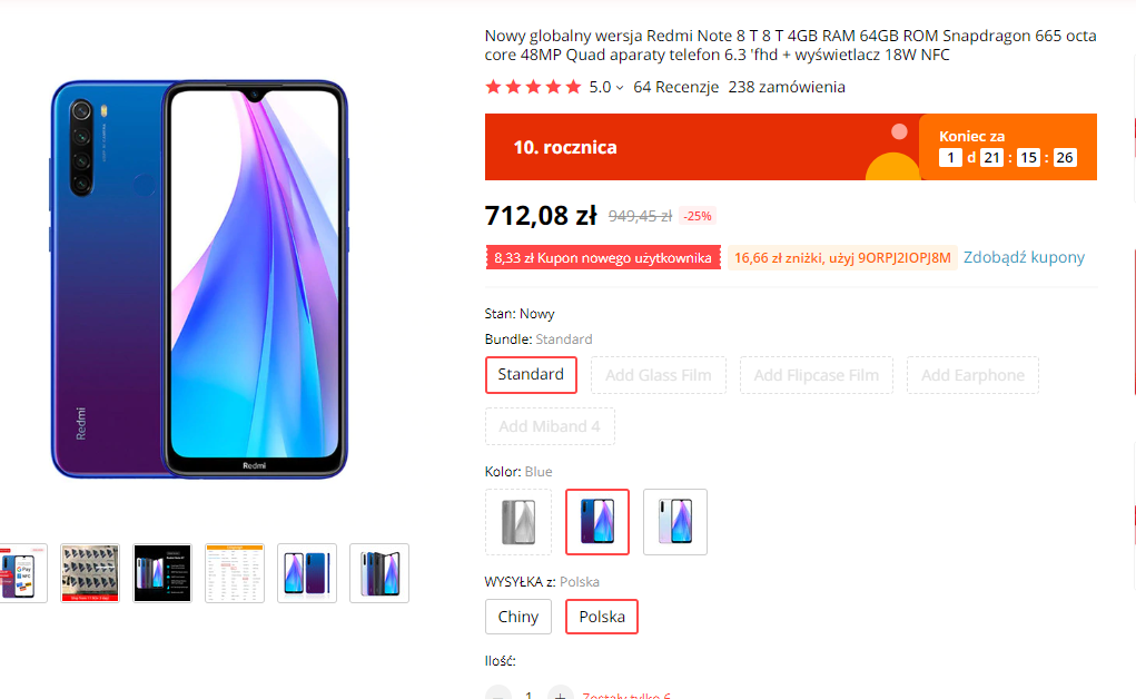 Xiaomi Redmi Note 8T promocja