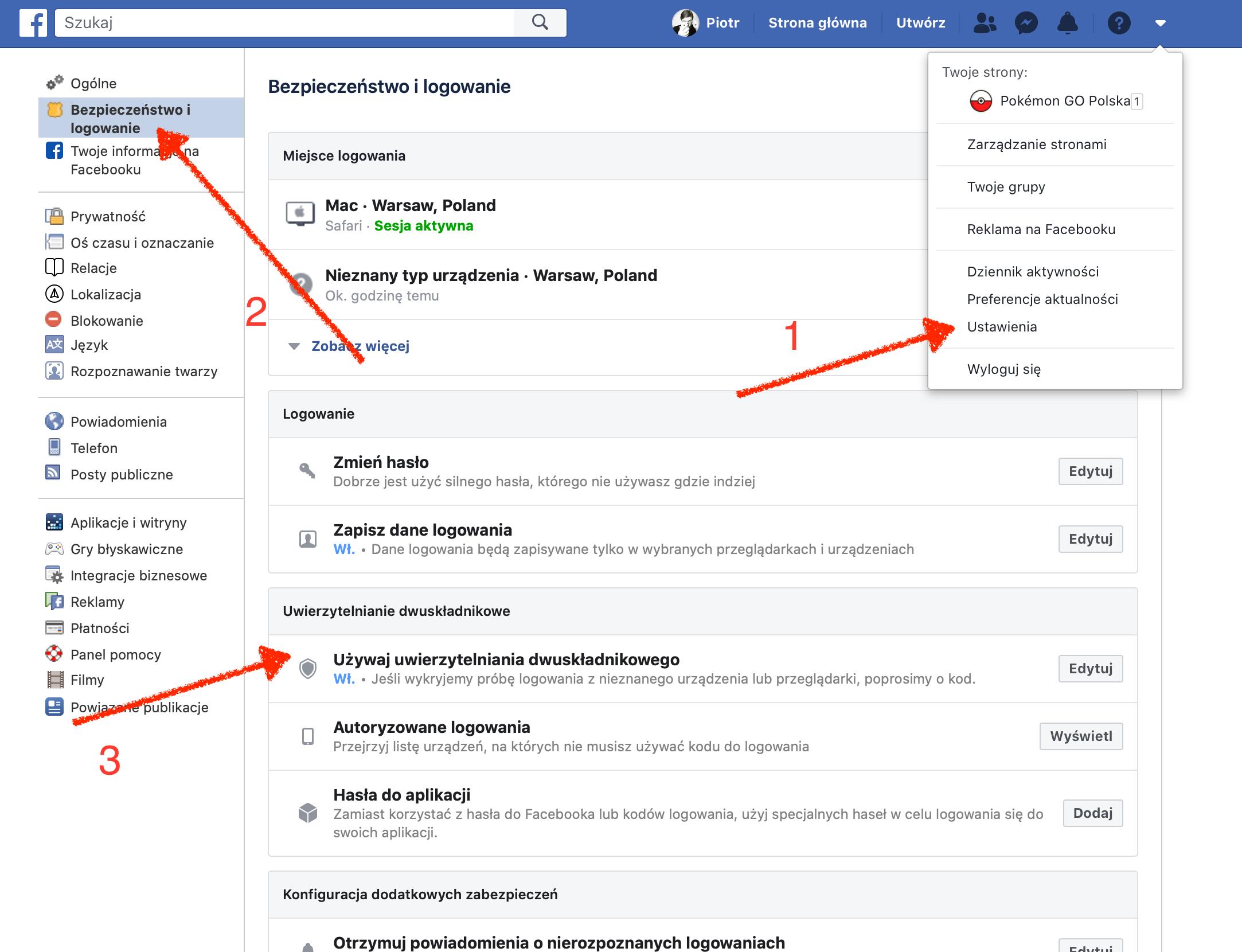 facebook uwierzytelnianie dwuskadnikowe weryfikacja dwuetapowa