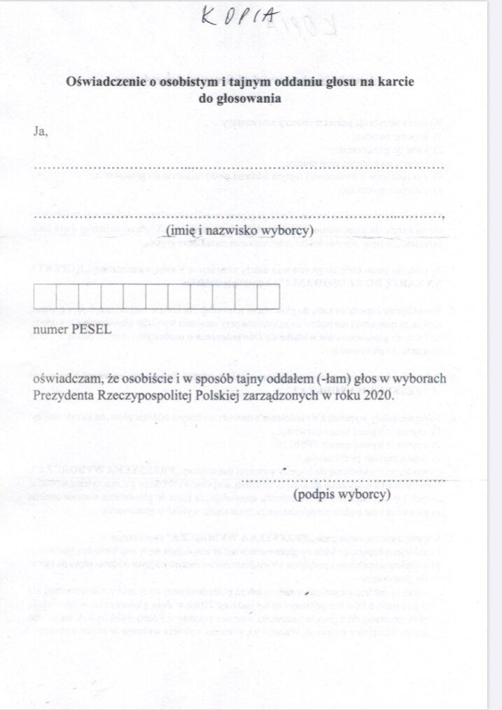 poczta polska wybory korespondencyjne pakiet do glosowania karta wyborcza oswiadczenie 2