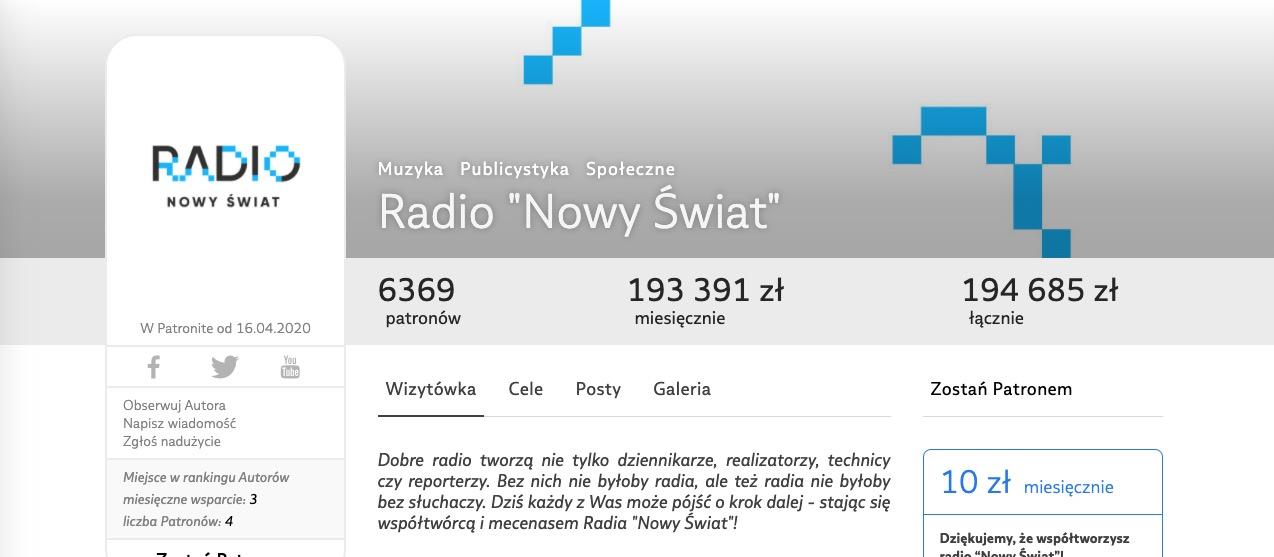 Byli dziennikarze Trójki zakładają Radio Nowy Świat. Idą jak burza na Patronie