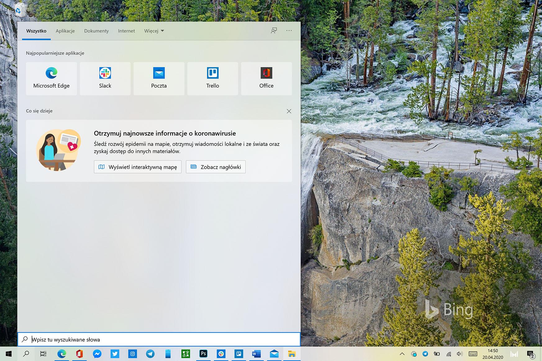 windows wyszukiwarka koronawirus