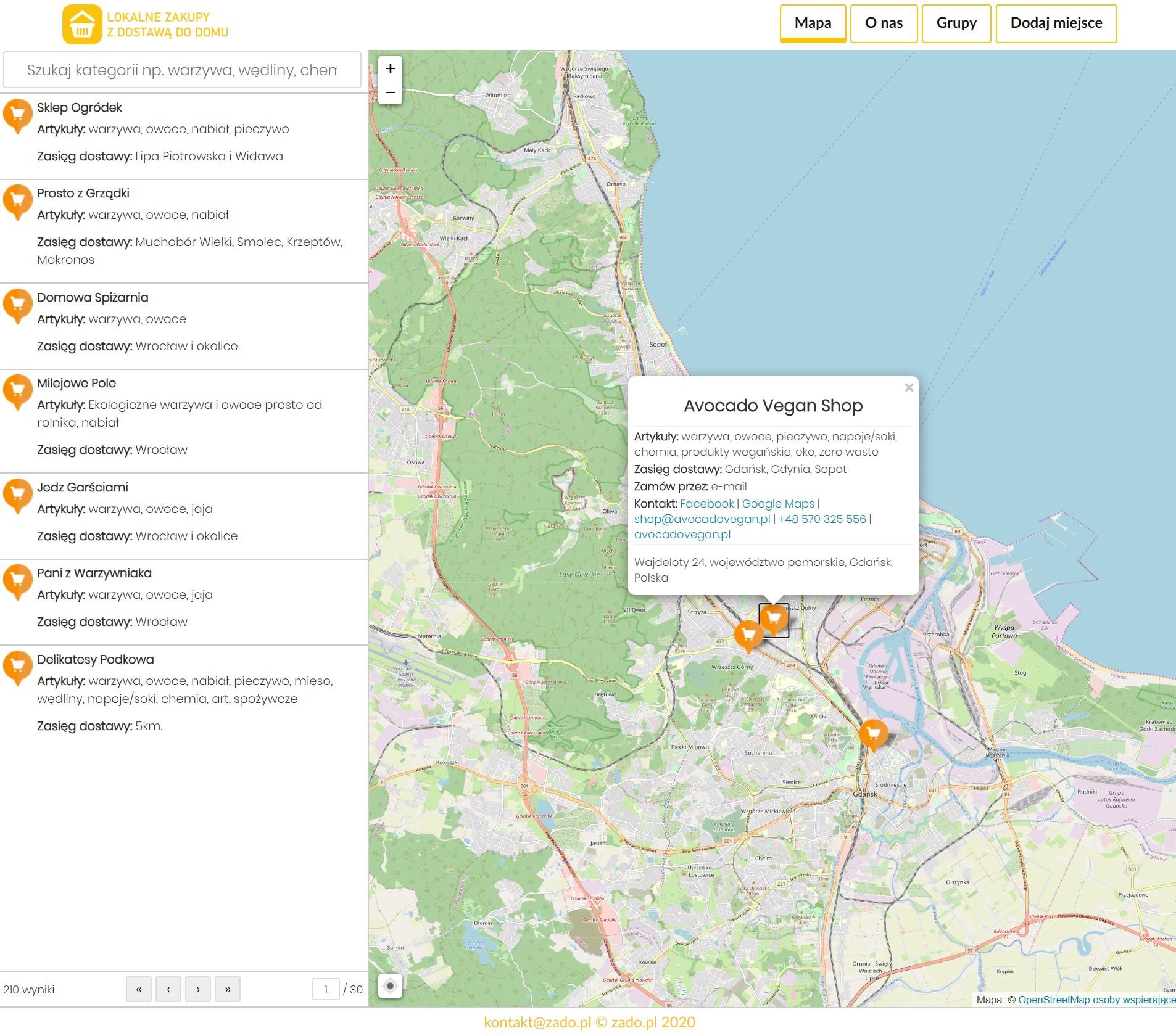 Zado - mapa sklepów oferujących zakupy z dowozem