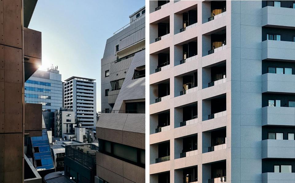 Architektura sfotografowana z balkonu na dwa różne sposoby: szerokim kątem oraz zoomem, fot. Krzysztof Gonciarz