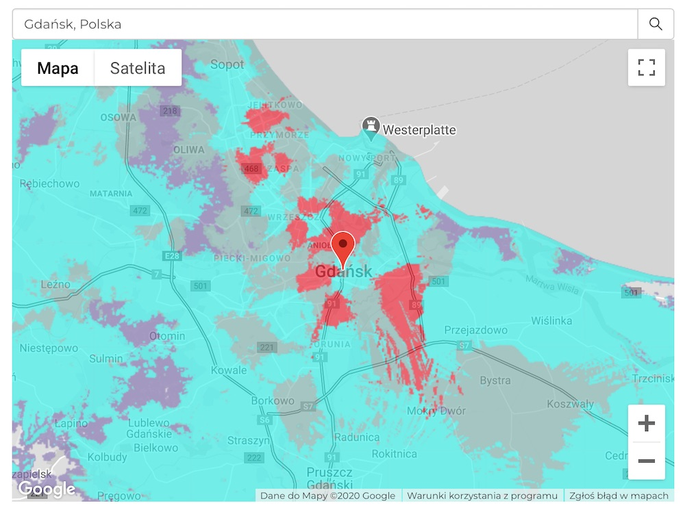 plus 5G mapa zasiegu 3 gdansk